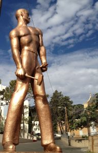 Bisbee's Iron Man statue has been painted copper.