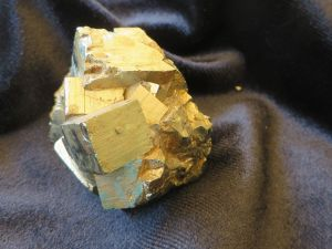 A large cluster of pyrite cube crystals