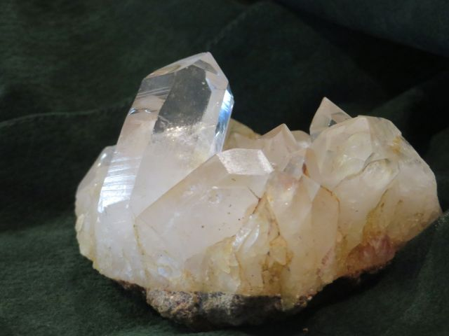 A large piece of rock Quartz with hexagonal transparent and translucent crystals