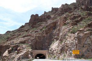 Tunnel in rocky mountainside near Roosevelt Dam