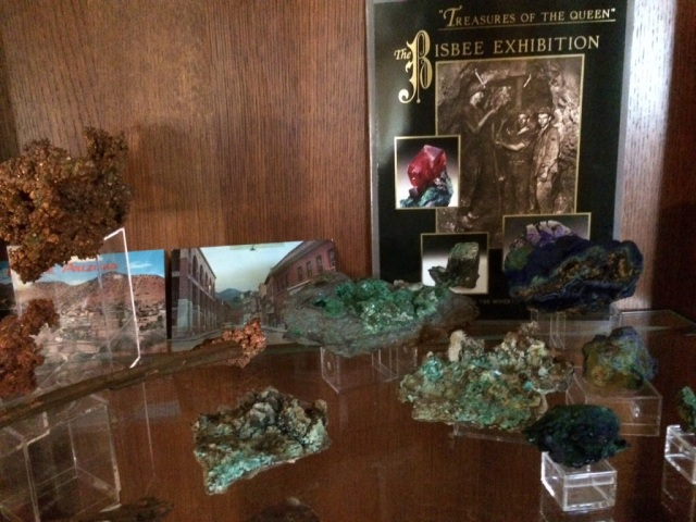 Bisbee samples with the Smithsonian book on their display from the Bisbee mines.