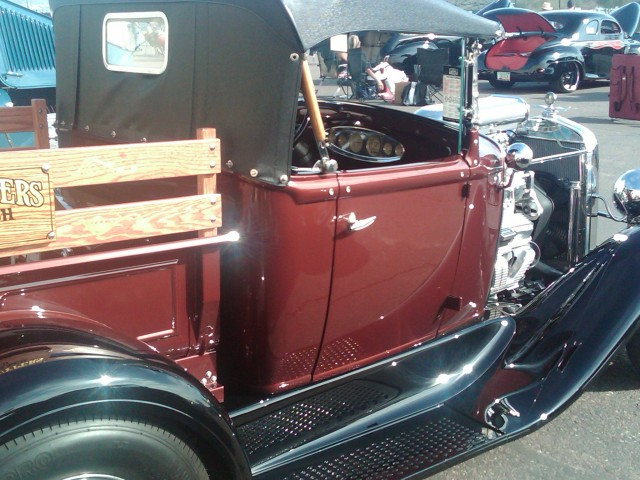 Car Show HR wood sided old pickup nice