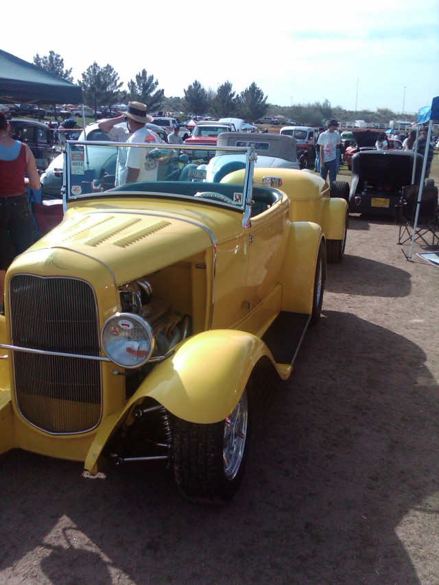 Car Show Yellow with trailer