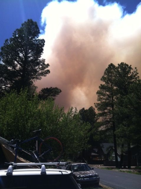 Smoke filling the Flagstaff sky today from the Slide fire. Photo by Amy Dryden
