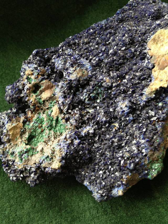 Macachite (green) and Azurite (blue) secondary copper minerals