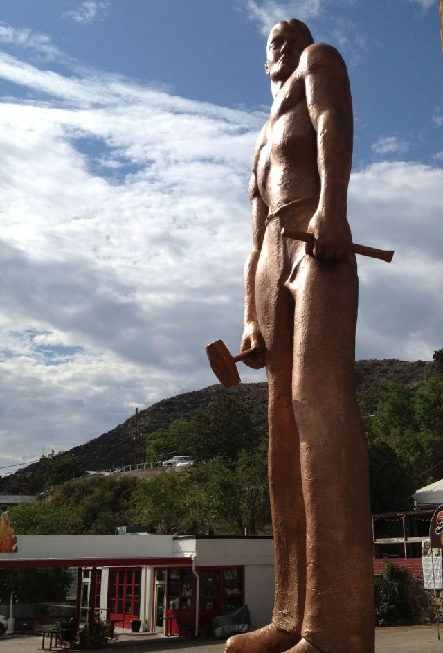 Bisbee's Iron Man, now painted copper, for the mineral wealth of the mines.