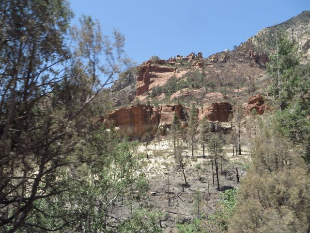 First view of burn area above Slide Rock